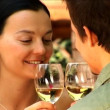Attractive young couple in love toasting with champagne — Stock Video