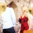 Romantic couple with champagne glasses — Stock Video