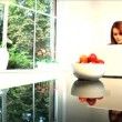 A beautiful brunette businesswoman works from home — Stock Video