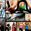 Collection of attractive girl working out at the gym — Stock Video