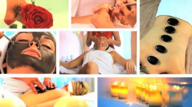 Collection of health and beauty spa images — Stock Video #19267733
