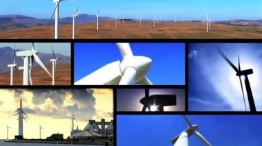 Collection of wind power farm producing energy in the environment — Stock Video
