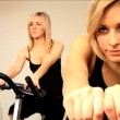 Beautiful blonde girls enjoy working out at the gym - Foto de Stock