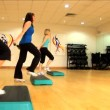 Stock Video: Beautiful young girls doing aerobic exercises at gym
