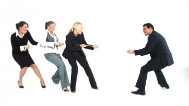 Tug of war between male and female business — Stock Video