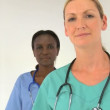 Multiethnic female medical team — Stockvideo