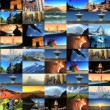Collage collection of picture postcard shots from around the world — Stock Video