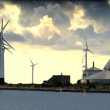 Multiple wind turbines on the coast of Denmark — Stock Video