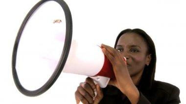 Beautiful african american businesswoman shouting through a megaphone — Stock Video