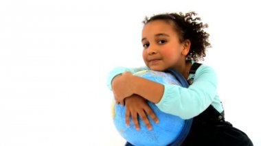 An adorable little african american girl embracing a world globe — Stock Video