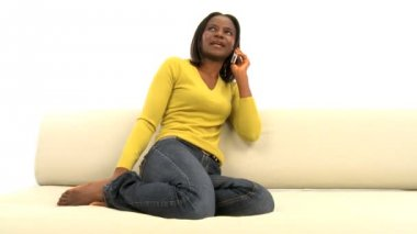 Attractive african american woman on mobile phone — Stock Video