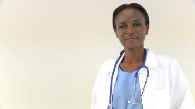 A portrait of an african american female doctor — Stock Video