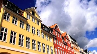 Nyhavn coloured houses in Copenhagen, with time-lapse sky — Stock Video