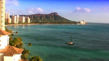 Diamond Head & Waikiki Beach — Stock Video