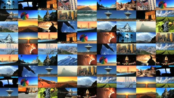 Collage collection of picture postcard shots from around the world — Vidéo