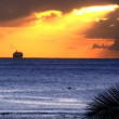 Pleaure cruise ejoying sunset over Hawaiian waters - Stok fotoğraf