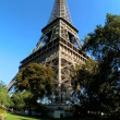 Eiffel Tower in Paris, France, with deep blue sky — Stock Video