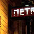 Illuminated sign for Metro undergrond transport system — Stock Video