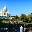 Basilique du Sacre-Coeur in Paris,  France, with visitors - Stock Photo