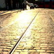 Cobbled streets & tram lines in Prague - Stock Photo