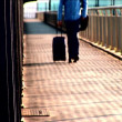 Commuter passing through the airport terminal — Видео