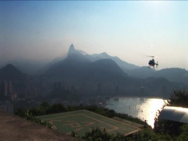 Helicopter landing on hillside outside Rio de Janeiro — Stock Video