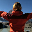 Female hiker enjoying view of the Matterhorn, Switzerland — Stock Video