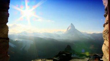 Time-lapse of the Matterhorn at sunset Switzerland — Stock Video