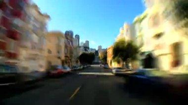 Timelapse точки зрения вождения по улицам сан-франциско — Стоковое видео
