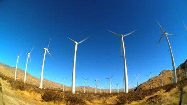 Fish-eye lens of wind turbines producing clean & renewable energy — Stock Video