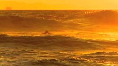 Surfen wellen bei sonnenuntergang — Stockvideo