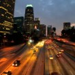 Traffic in downtown LA at night - Stock Photo