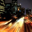 Timelapse of night traffic in downtown LA — Stock Video