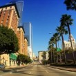 Point-of-view with fish-eye driving in downtown LA - Stock Photo