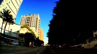 Point-of-view timelapse of driving downtown LA — Stock Video