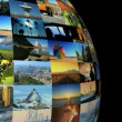 Stock Video: Moving travel globe of postcard views & pictures