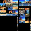Multiple moving panels of aircraft & travel destination images — Stock Video #19605705