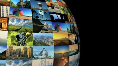 Moving travel globe of postcard views & pictures — Stock Video