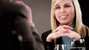 Healthy living young woman attending a business interview — Stock Video
