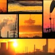 Montage of moving images of fossil fuel energy & power sources — Vidéo