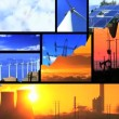 Montage of moving images of choice between fossil fuel & renewable energy - Stockfoto