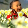 Stock Video: Cute african american child playing in a field of daffodils