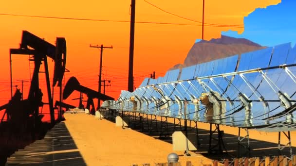 Montage of moving images of choice between fossil fuel & renewable energy — Vidéo