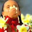 Cute african american child playing in a field of daffodils - Stockfoto