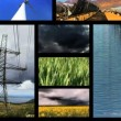 Royalty-Free Stock Vector Image: Vertical montage of images of renewable energy production