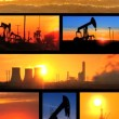 Vertical montage of non-sustainable energy production images - Foto Stock
