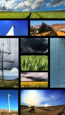 Vertical montage of images of renewable energy production