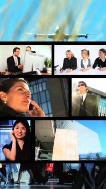 Vertical montage of business & travel scenes, images — Stock Video