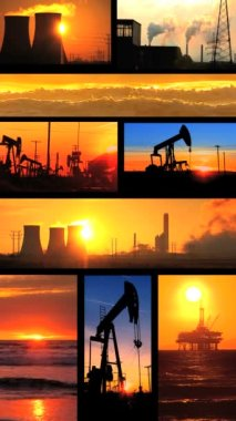Vertical montage of non-sustainable energy production images