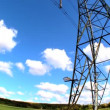Fish-eye lens view of an electricity pylon looking skyward — Stock Video